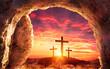 Leinwandbild Motiv Resurrection Concept - Empty Tomb With Three Crosses On Hill At Sunrise