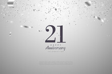 21st Anniversary With Numbers And Silver Foil Illustrations.