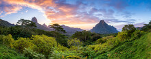 Panoramic Sunset View Of Mont Rotui On Moorea Island, French Polynesia