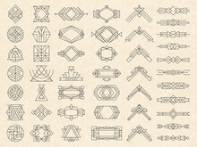 Art Deco Geometrical Shapes. Modern Design Elements For Emblems And Logotypes Triangles Circles Dividers And Arrows Recent Vector Templates. Geometric Line Logotype, Logo Template Linear Decorative