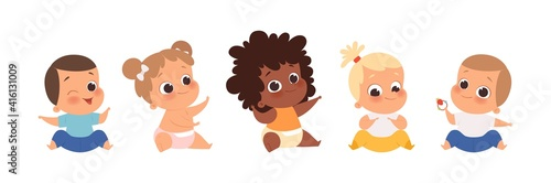 Baby group, multiethnic babies sitting. Isolated cartoon cute toddlers vector set. Child girl and boy unfant, kids cartoon happy © ONYXprj
