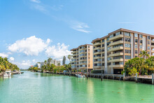 Bal Harbour, Miami Florida With Light Green Turquoise Ocean Biscayne Bay Intracoastal Water And Cityscape Skyline Of Sunny Isles Beach In Distance