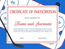 Certificate Of Participation In Ice Hockey Championship. Sport Tournament Victory Celebration Diploma Template With Hockey Rink, Stick And Puck Vector. Kids Diploma For Sport Competition Winners Team