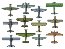 Retro Military And Civil Airplanes Isolated Vector Set. Air Force Vintage Fighter, Bomber And Transport Aircraft. Old Monoplane And Biplane Propeller Aeroplanes, Army And Passenger Aviation Airplanes