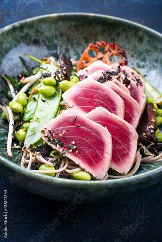 Fototapeta Modern style traditional Japanese gourmet seared tuna fish steak tataki with sob