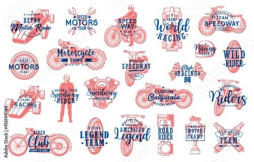 Foto Motorsport racing and biker club lettering icons set