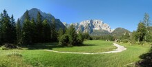 The End Of The Valbruna Valley With The Jôf Di Montasio Mountain In The Julian Alps In Italy