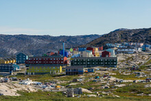 Greenland. Ilulissat. Dog Town And Houses Beyond.