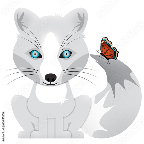 Fototapeta premium Arctic Fox and Mourning Cloak Butterfly Sitting Isolated on White Illustration with Clipping Path