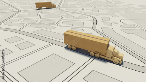 Fototapeta Big cardboard box package on a wooden toy truck ready to be delivered on a road map obraz