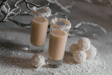 Irish Cream Or Coffee Liqueur With Homemade Coconut Healthy Balls And Coco Flakes