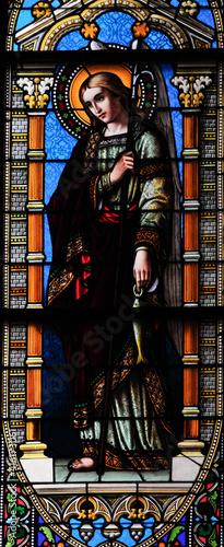 Billede på lærred Archangel Raphael, stain glass