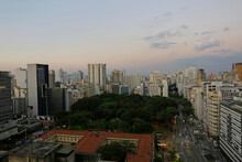 Aerial View Of Republica Square, In Republica Neighborhood, Downtown Sao Paulo, Brazil, During Sunset.