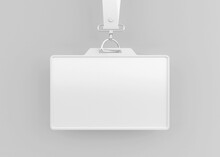 Corporate Office Id Card Holder Mockup With Lanyard Isolated On Soft Color Background