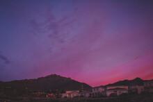 Sun Setting Behind The Franklin Mountains, El Paso, Texas
