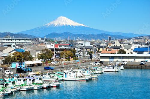 Obraz na plátně 富士山と用宗漁港
