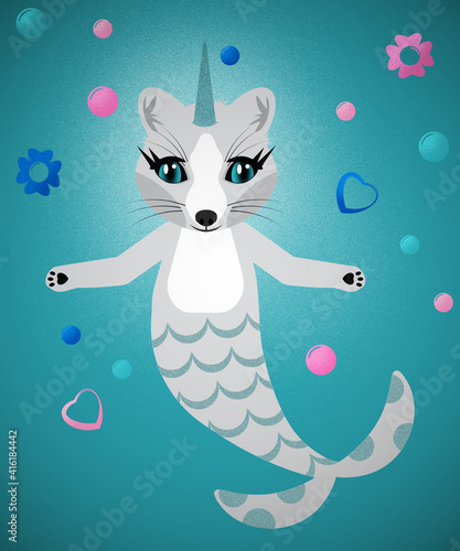 Fototapeta premium Unihorn Fox Mermaid with Floating Hearts Flowers and Bubbles with Clipping Path over Blue Water Colored Background