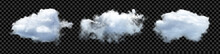 Vector Clouds. Realistic Fluffy Cloud Isolated Set