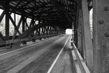Interior Of A Covered Bridge, Black And White