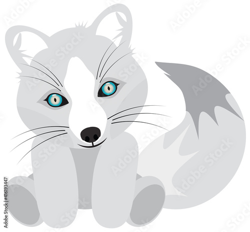 Fototapeta premium Baby White Artic Fox Stuffed Animal with Blue Eyes and Big Tail. Clipping Path on White Background.