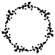 Willow Easter Wreath.Round Wreath Of Willow Branches. Vector Illustration Isolated On A White Background. Design For Easter, Wedding, Spring Decor