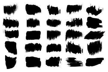 set with black brush strokes on white background. Dirty grunge texture. Modern art isolated vector graphic. Stock image. EPS 10.