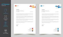Modern Abstract Letterhead Design Template Print Ready A4 Size Fully Editable , Modern Elegant Letterhead Design