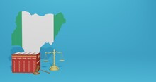 Nigeria Law For TV Infographics, Social Media Content And Free Space Can Be Used To Display Data In 3d Rendering