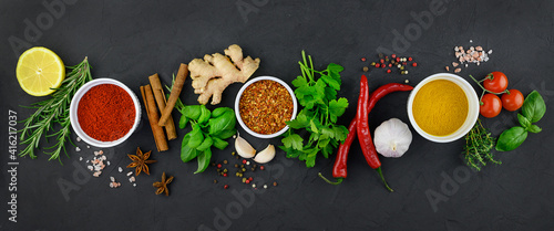 Colorful various herbs and spices for cooking on dark background