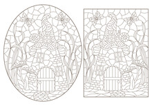 A Set Of Contour Illustrations With Dwarf Houses On A Background Of Mushrooms And Grass, Dark Outlines On A White Background