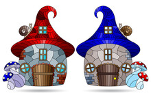 A Set Of Illustrations In The Stained Glass Style With Dwarf Houses, Cozy Houses In The Form Of Mushrooms Isolated On A White Background