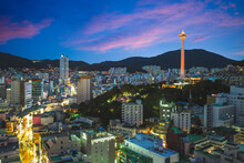 Night View Of Busan With Busan Tower In South Korea