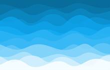 Blue Water Wave Sea Line Pattern Background Vector Illustration.