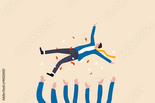 Job promotion celebration, winning prize, success in work or goal achievement congratulation party concept, joyful company colleagues throwing their happy boss into the air celebrating team success Fototapet