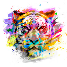 Tiger Head With Creative Abstract Elements On Dark Background