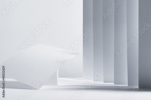Modern simple geometric white grey abstract scene with stripes, perspective, light, shadow and asymmetry construction as podium Wallpaper Mural