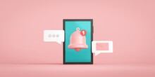 Notification Message Bell Icon Alert And Alarm On Pastel Color Background With Smartphone Reminder. 3D Rendering.