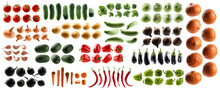 Large Set Of Isolated Vegetables On A White Background