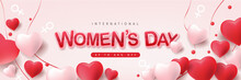 Women Day 8 March Russian Greeting Gift Postcard Love Flower Banner Decoration Heart Rose.
