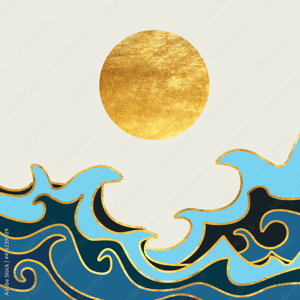 Japanese template illustration. Abstract banner with shapes, sun, cloud and Fuji mountain elements in poster design. Abstract wallpaper and background