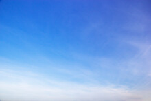 Blue Sky Background And White Clouds Soft Focus, And Copy Space Horizontal