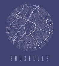 Brussels Map Poster. Decorative Design Street Map Of Brussels City, Cityscape Aria Panorama.