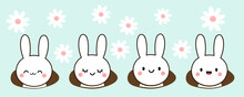 Set Of Easter Rabbits And Holes On Daisy Flower Garden Background Vector Illustration.