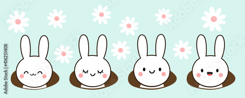 Vászonkép Set of Easter rabbits and holes on daisy flower garden background vector illustration