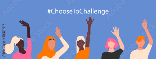 Obraz International womens day. 8th march. Choose To Challenge. Horizontal poster with different skin color womens hand up. Vector illustration in flat style for greeting card, postcard, banner. Eps 10. - fototapety do salonu
