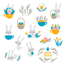 Cute Rabbit Character And Elements For Easter Isolated On White.