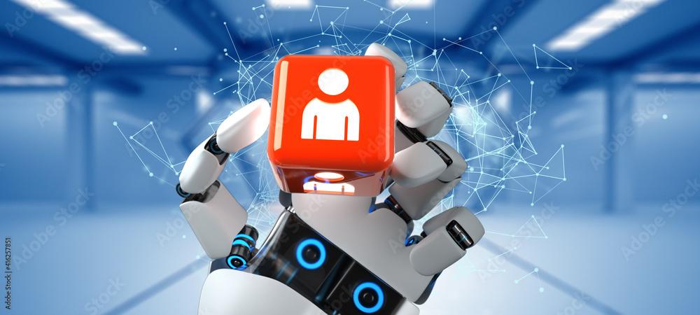 Fototapeta Robot Hand Cube Human