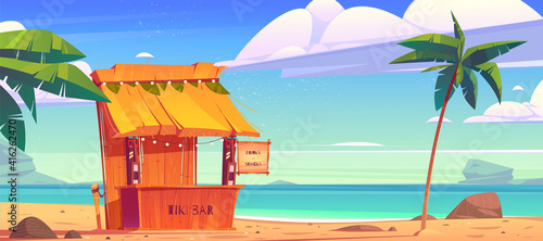 Tablou Canvas Tiki bar, wooden hut with tribal masks, drinks and snacks on summer beach