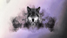 The Head Of A Wolf Against The Background Of A Smoke Cloud. Artistic Work On The Theme Of Animals