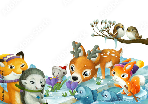Fototapeta premium cartoon scene with christmas animals in the forest near the stream illustration